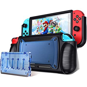 LEYUS Grip Case for Nintendo Switch, Ergonomic Protective Cover and Stand, 6 Card Slot and Transparent Game Card Case (Blue)