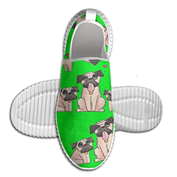 Three Pugs Lovely Cartoon Men's Slip-On Loafers Lightweight Walking Shoes