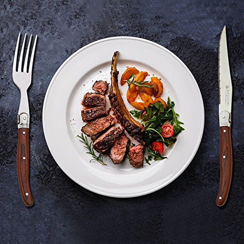 [Set of 6] Steak Knives Set,Laguiole by Hailingshan Stainless Steel Serrated Dishwasher Safe Premium Heavy Sharp Kitchen Cutlery Tableware Dinner Utensil Flatware Boxed Table Steak Knives-Wood Handle by Laguiole by Hailingshan (Image #5)
