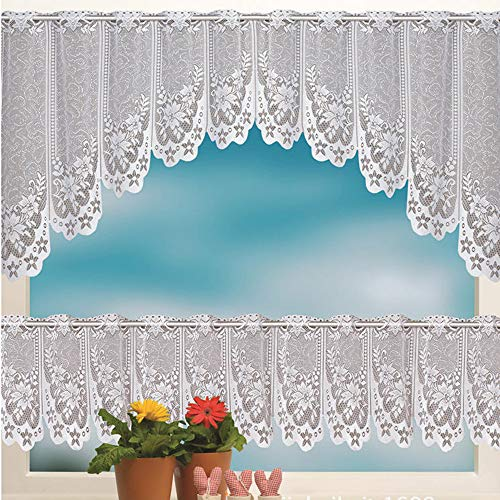 Hot Sale!DEESEE(TM)2PCS Lace Coffee Cafe Window Tier Curtain Set Kitchen Dining Room Home Decor Lot - Lace Curtain Tiers