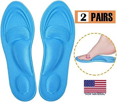Plantillas Memory Foam Plantillas Cómodas Para Zapatos De Mujer 2 Pares Azul Nuevo Material 5d Plantillas Soporte Para El Arco Del Pie Ayuda A Reducir El Dolor De Talón Fascitis Plantar Amazon Es