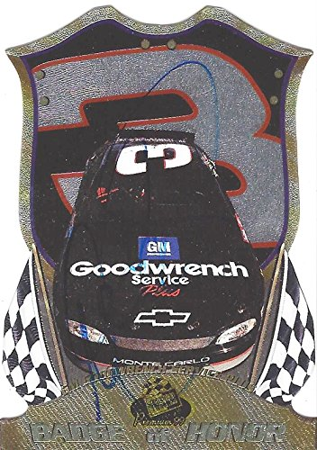 AUTOGRAPHED Dale Earnhardt Sr. 1999 Press Pass Premium BADGE OF HONOR (#3 Goodwrench Car) Extremely Rare Vintage Signed NASCAR Collectible Insert Diecut Trading Card with COA ()