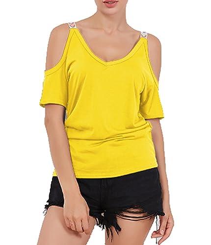 LemonGirl Mujeres Camiseta de manga corta blusa tops