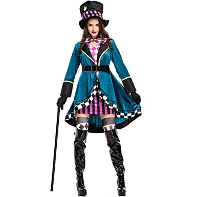 hzy womens halloween magician trainer french lolita maid dress costume cape cosplay adult