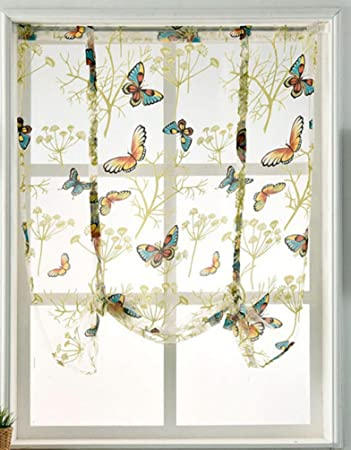 HomeyHo Rod Pocket Curtain Sheers Curtains For Bedroom Window Butterfly  Curtains For Kitchen Windows Sheer Curtains For Living Room Bedroom  Curtains ...
