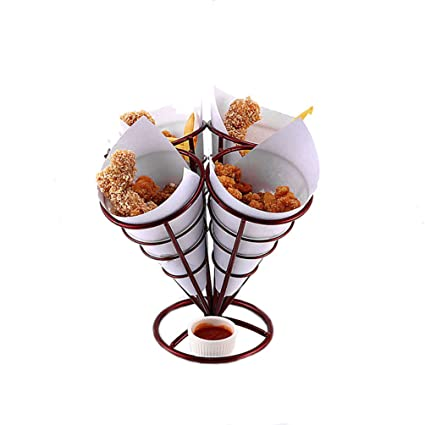 Amazon 4 In 1 French Fry Stand Holder Fries Cone Basket Rack