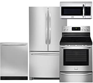 "Frigidaire 4-Piece Smudge-Proof Stainless Steel Set, FGHN2866PF 36"" French Door Refrigerator, FGEF3035RF 30"" Electric Range, FGID2466QF Fully Integrated Dishwasher, FGMV175QF Over the Range Microwave"