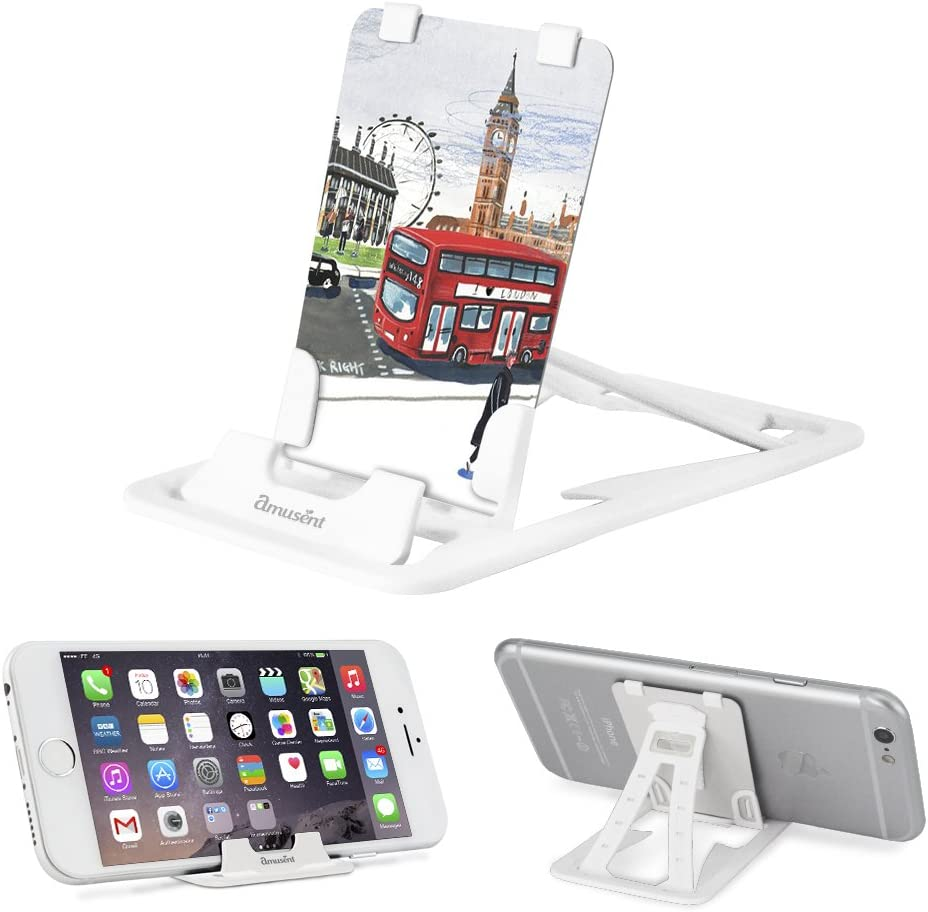 Slim-Pro Stand by Amusent-Ultra Slim Portable Phone Stand, Kickstand, Pocket Size-Foldable, Adjustable, Multi-Angle, Compatible w/iPhone, Smartphones & Tablets (London)