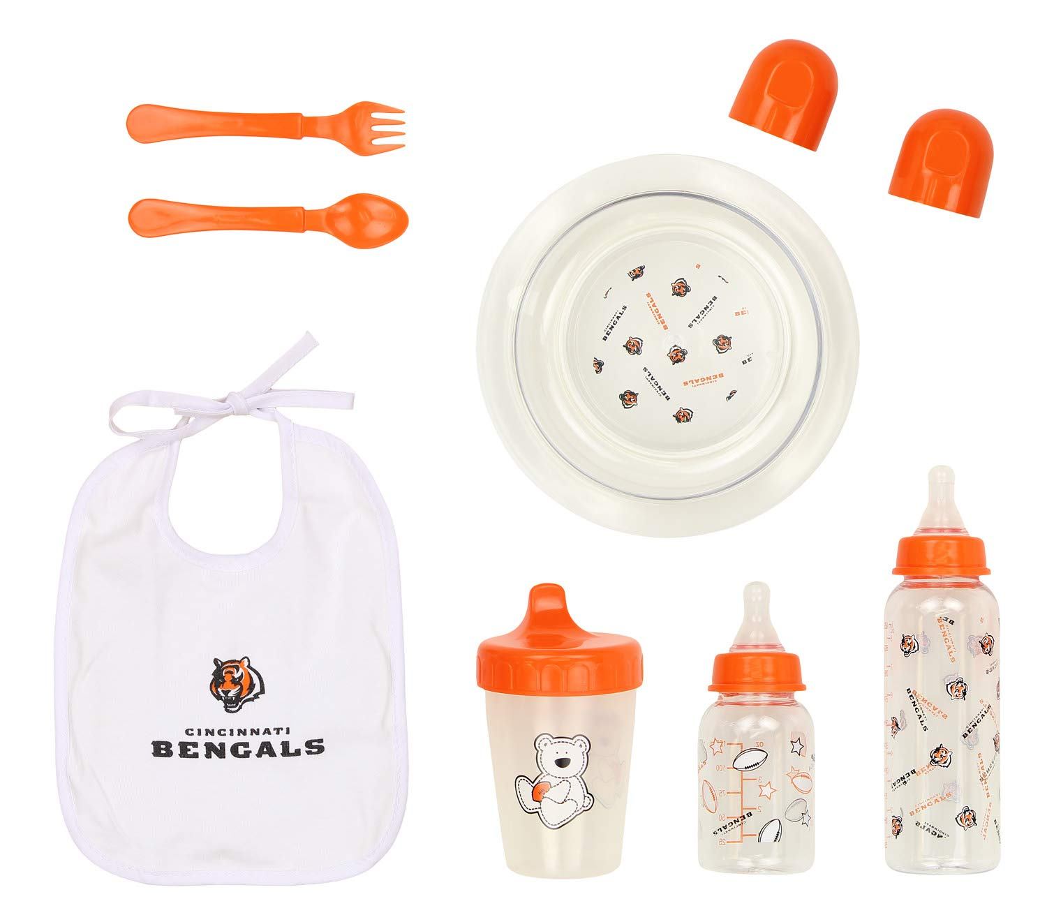 Outerstuff NFL Football Newborn Baby 6 Piece Necessities Gift Set- Bottle Bib Bowl Cup