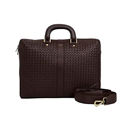 6ec04f4bb7e Image Unavailable. Image not available for. Colour: Da Milano Leather Brown  Laptop Bag