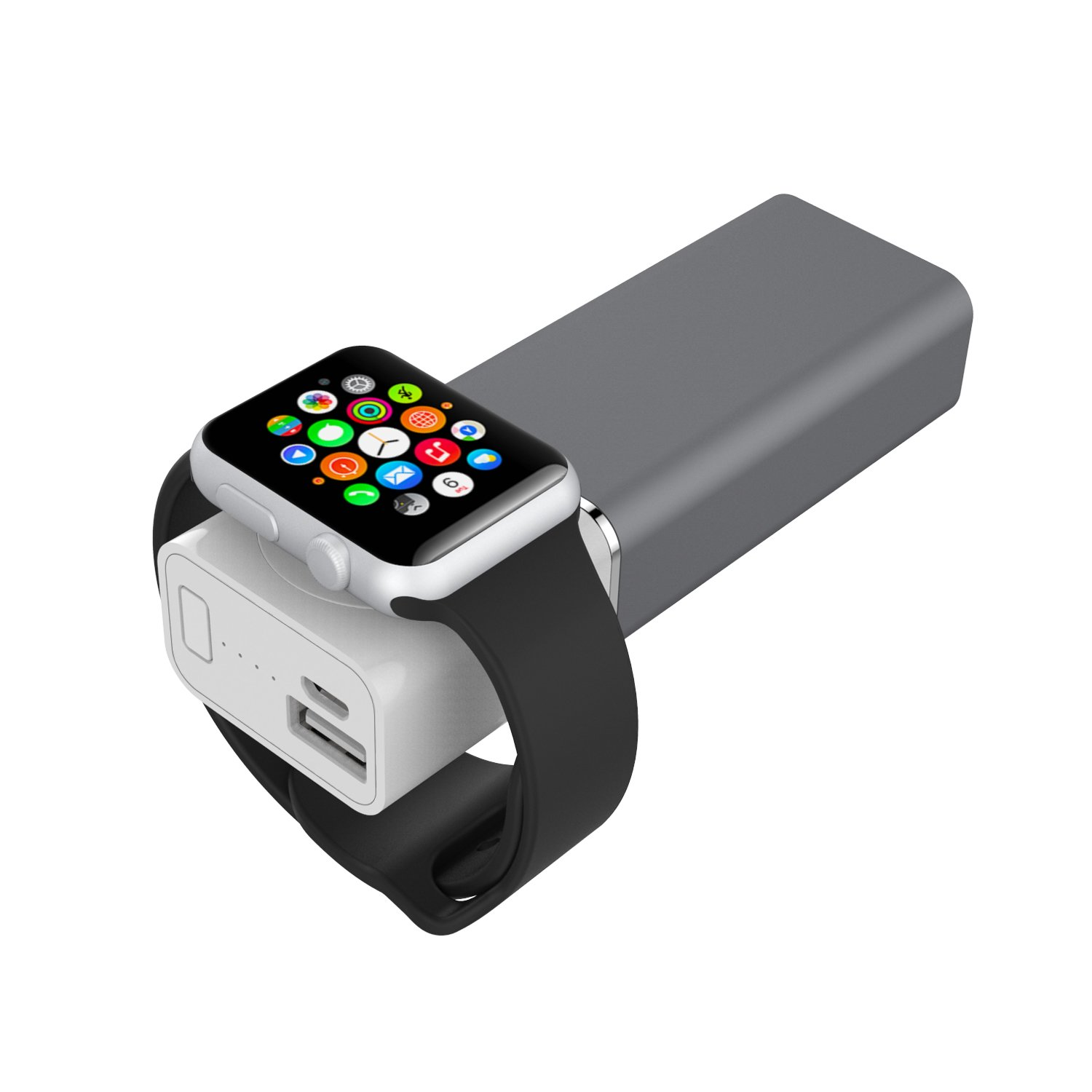new arrival f3f2b cecc2 Element Works USA EW-AWPB2-SG Dual USB Portable Charger and External  Battery Pack for Apple Watch in Space Grey