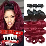 XiaoYuan Ombre Brazilian Hair 3 Bundles Body Wave 1B/Burgundy 99j 8A Brazilian Virgin Hair Ombre Hair Extensions (10