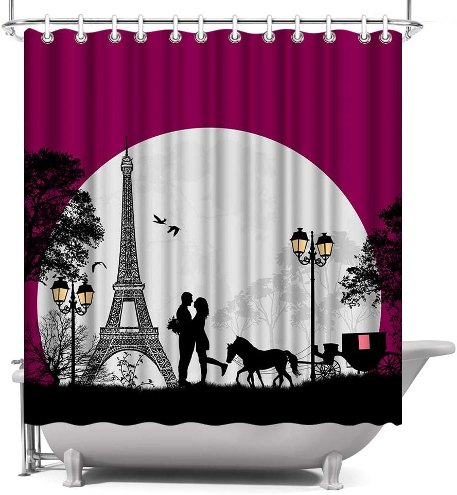 "Paris Eiffel Tower Shower Curtain Lover Couple Bathroom Decor Shower Curtain with Hooks Polyester Fabric 72""x72"" Purple"