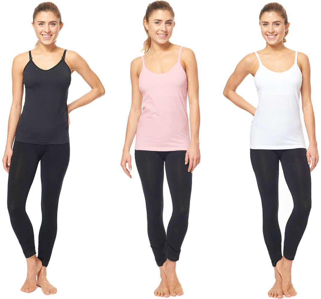 3 PACK OF Maternity Nursing Tank Top and Cami Shirts ( 40013 black/white/blush ) (Medium, A)