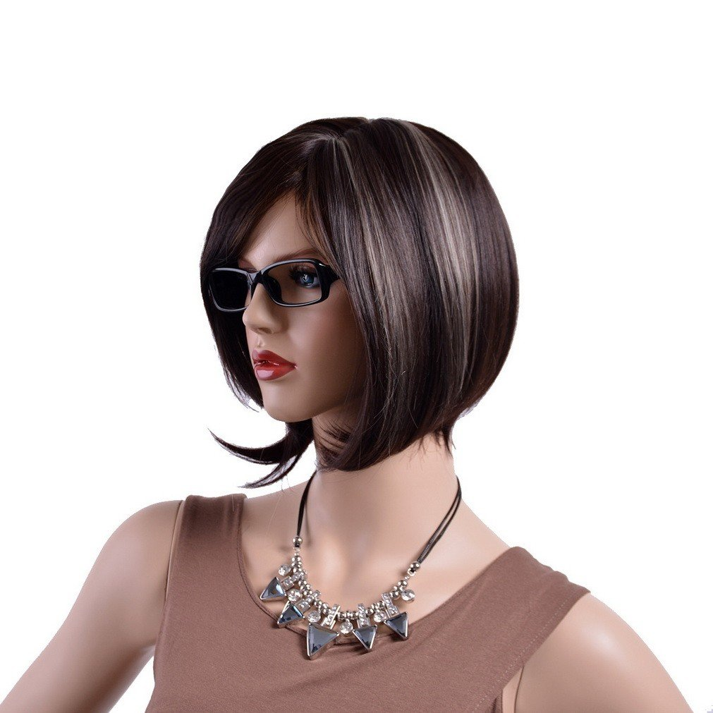 A.Monamour Women's Black Silver Brown Mix Highlights Natural Straight Short Bob Inclined Fringes Thick Hair Full Wig by A.Monamour (Image #2)