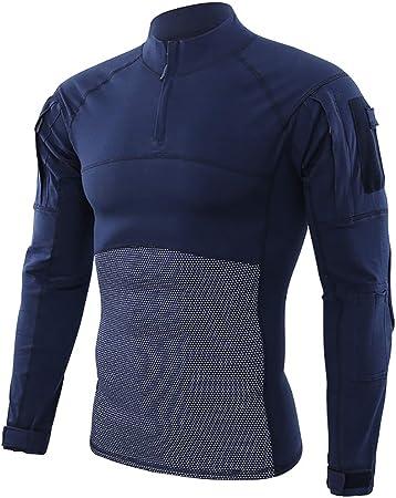 W&TT Camiseta de Combate táctica camuflada para Hombre Camisa Militar de Manga Larga de Corte Slim Camiseta Transpirable de Secado rápido del ejército de Airsoft con Cremallera 1/4,Armada,3XL: Amazon.es: Hogar