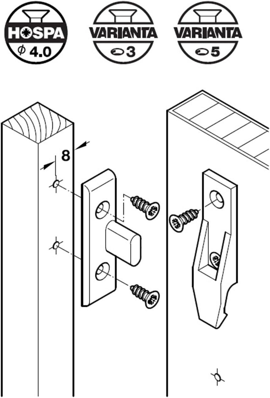 4 Paare HAFELE Keku AS Schrankverbinder Einh/ängebeschlag Platten und Rahmenteil Blendenhalter Einh/änge-Verbinder zum Schrauben M/öbelverbinder f/ür H/äufig Auszuh/ängende Paneele Kunststoff bis 20kg