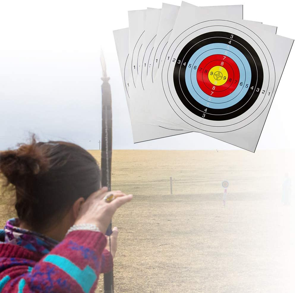 10pcs Outdoor Archery Target Paper Face for Arrow Bow Shooting Hunting FM
