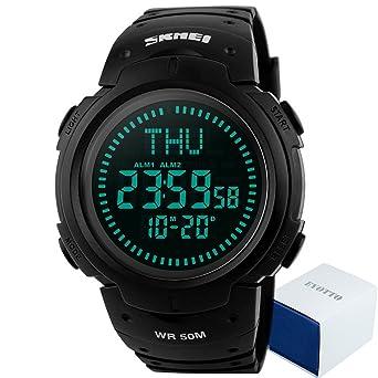 Amazon.com: eyotto Reloj digital de los hombres 50 m ...