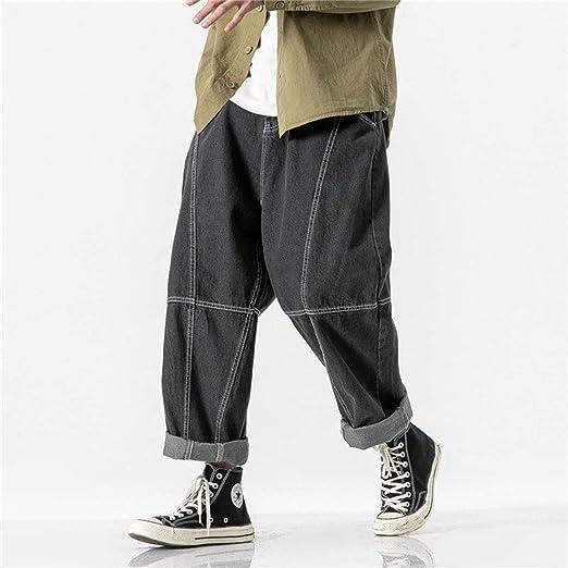 NOQINHOO ジーンズ メンズ ジーパン デニムパンツ ポケット付き パンツ 9分丈 ボトムス ズボン シンプル カジュアル 日系 ヒップホップ オールシーズン ブラック ブルー
