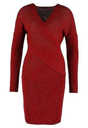 Anna Field Strickkleid kurz mit langem Arm - Gestricktes Kleid elegant für  Damen, Rot in 4a18c22cd9