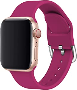 Odoan Band Compatible with Apple Watch, Soft Silicone Strap Wrist Replacement Band for Watch Series 5/4/3/2/1 (Pome Wine Red, 38/40mm Small/Medium)
