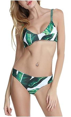 magasin en ligne 5d964 90e76 CHIC DIARY Ensemble Maillot de Bain Femme 2 Pièces Feuille Verte Imprimé  Cordon Tricoté Push-up Bikini de Plage