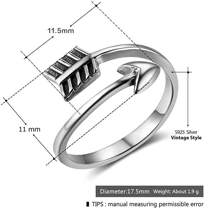 Details about  /925 Sterling Silver Love Arrow Ring Bypass Arrow Ring 5mm Size 5 8