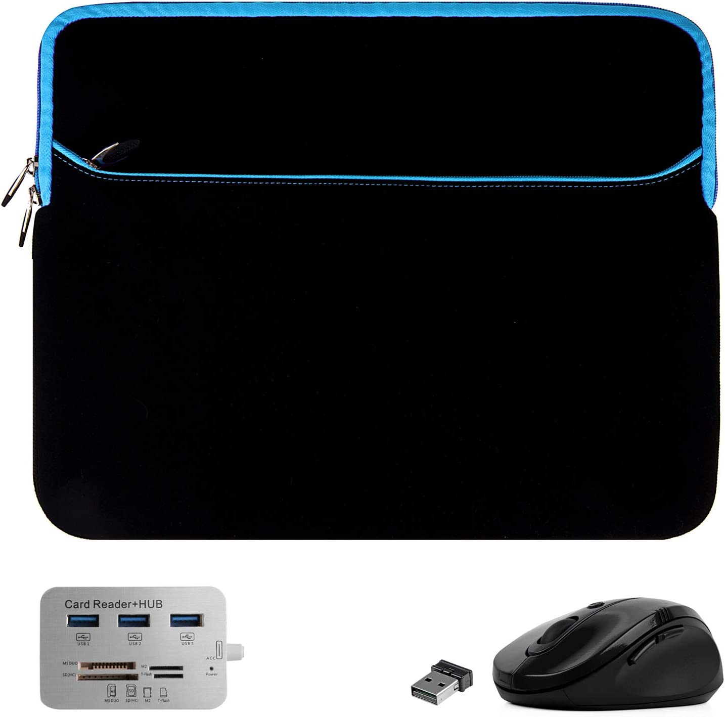 Protective Laptop Sleeve Blue 15.6 15 inch for Dell G3 3590 3579, Inspiron 15 7590 5582 3585 7586 7580, Latitude 15 5500 5501 3500, Precision 15 3540, Vostro 15 3584 7590 (Includes USB C Hub, Mouse)