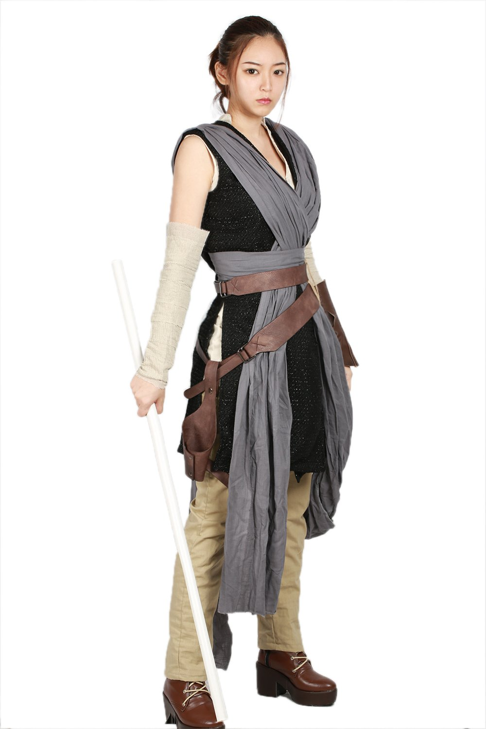 xcoser Rey Costume Deluxe Cool Full Set Tops Belt Tunic Movie Cosplay Women Outfit L by xcoser (Image #2)