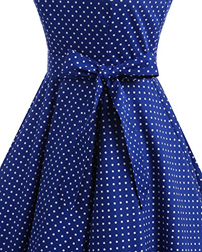 con Cóctel Retro Red Vestidos de White Dot Estampado Lazo Rockabilly 1950 Bbonlinedress Vintage nv8XqWYXT