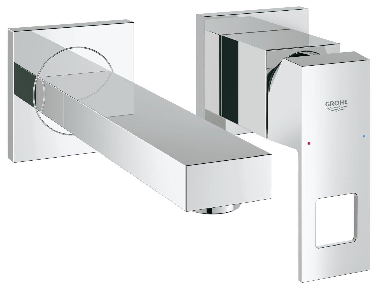 Grohe 23447000 Eurocube Miscelatore Monocomando per Lavabo con Installazione A Parete, Lunghezza 231 mm, Cromo, Ecojoy, M