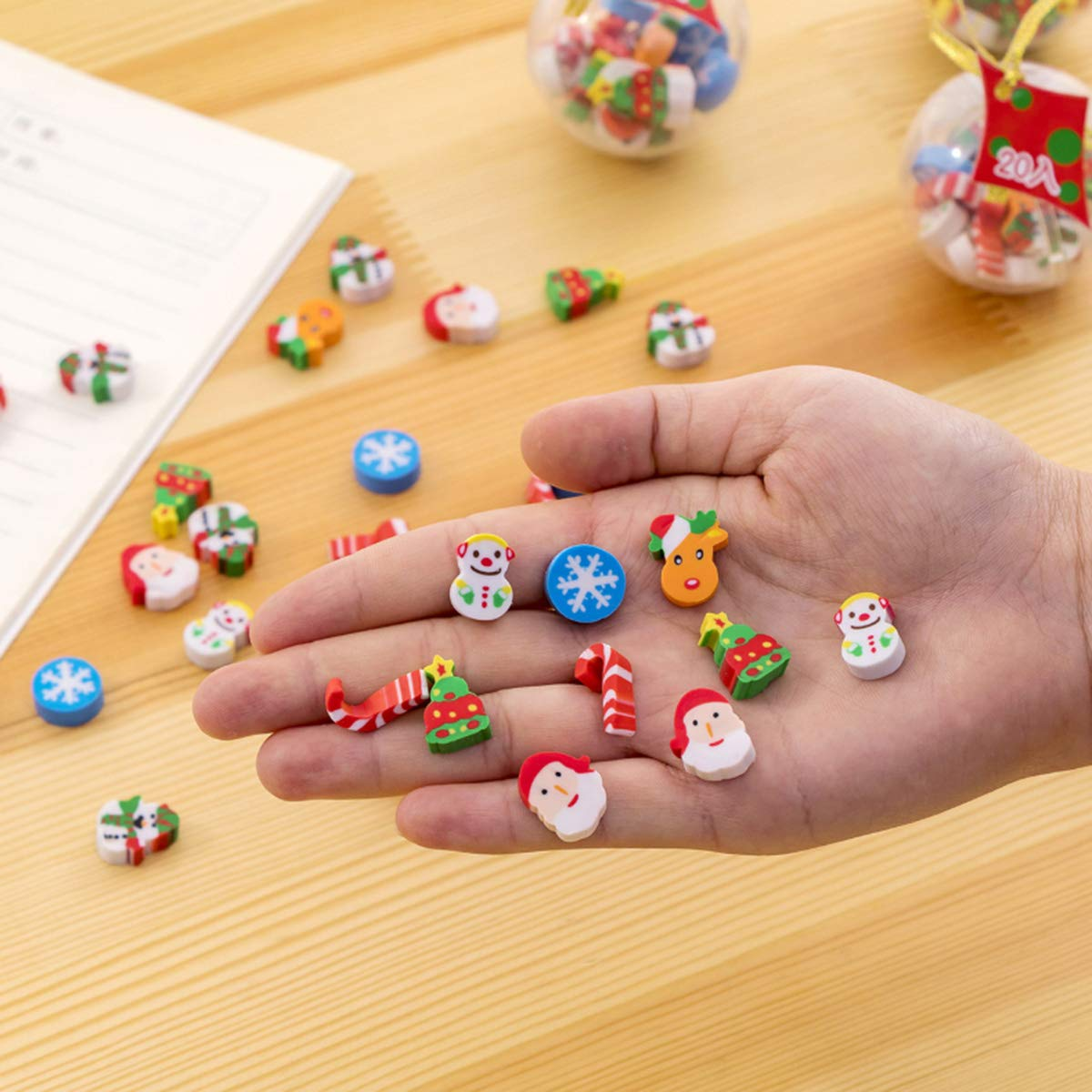 CiCy 120 pcs Christmas Erasers Holiday Erasers for Christmas Party Favors 6 Balls School Prizes and Goodies Bag Fillers Kids Crafts Stocking Stuffers Party Prizes Favors