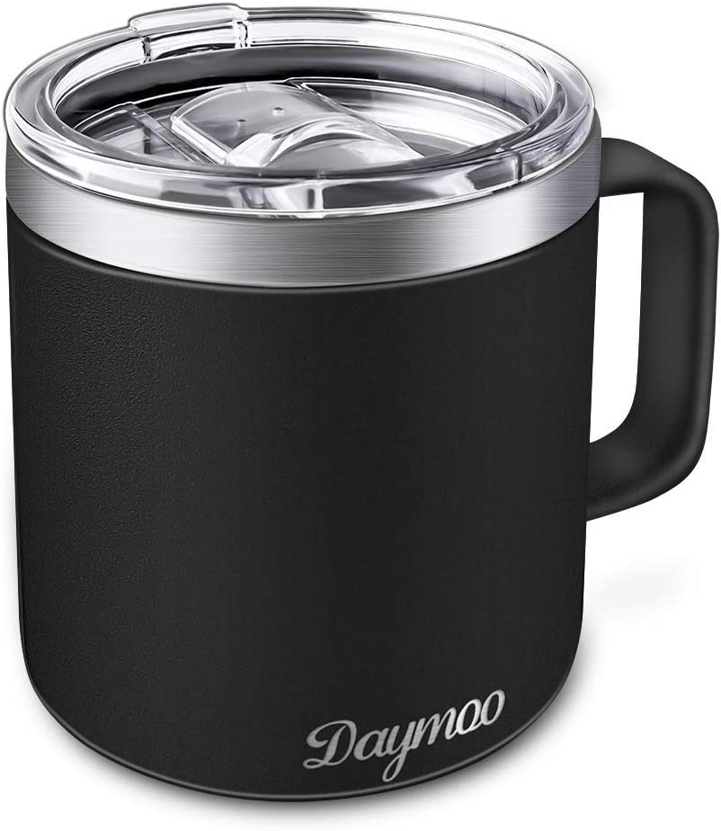 Insulated Coffee Mugs with Handle and Lid, DAYMOO Stainless Steel Coffee Travel Mug Wine Tumbler Double Wall Vacuum Insulated 14 oz for Home, Office, Camping Hot or Cold Drinks (Black)