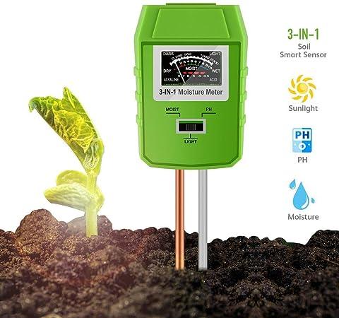 WuShuang Medidor de luz de Suelo 3-en-1 / pH/Sensor de Humedad, Herramientas de jardinería, Césped, Kit de Prueba de Suelo de jardín (No Necesita batería): Amazon.es: Hogar