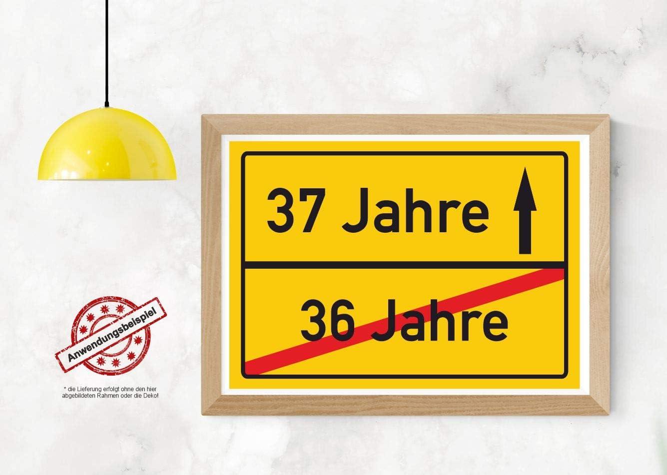 Geschenkidee zum 37 Geburtstag Ortsschild Deko Bild Glückwunsch Geschenk Karte
