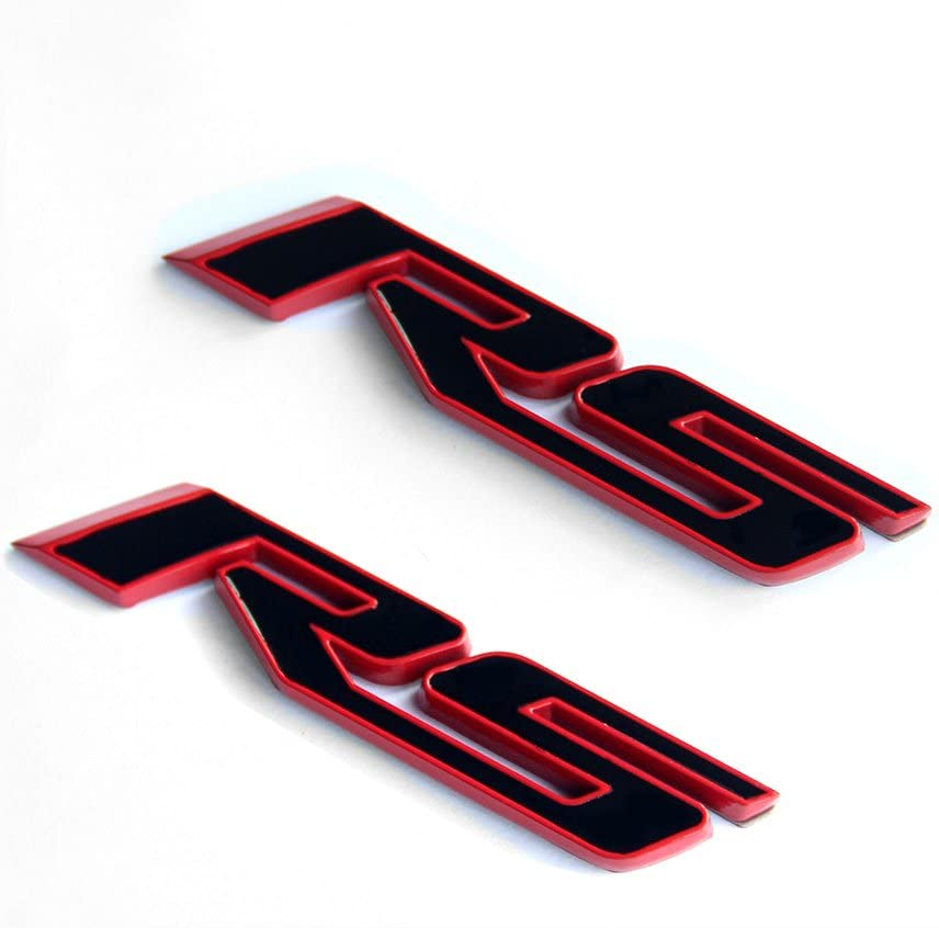 Yoaoo 2x OEM Black RS Decal Emblem Badges 3d Allloy for Camaro GM Series Matte Black Red