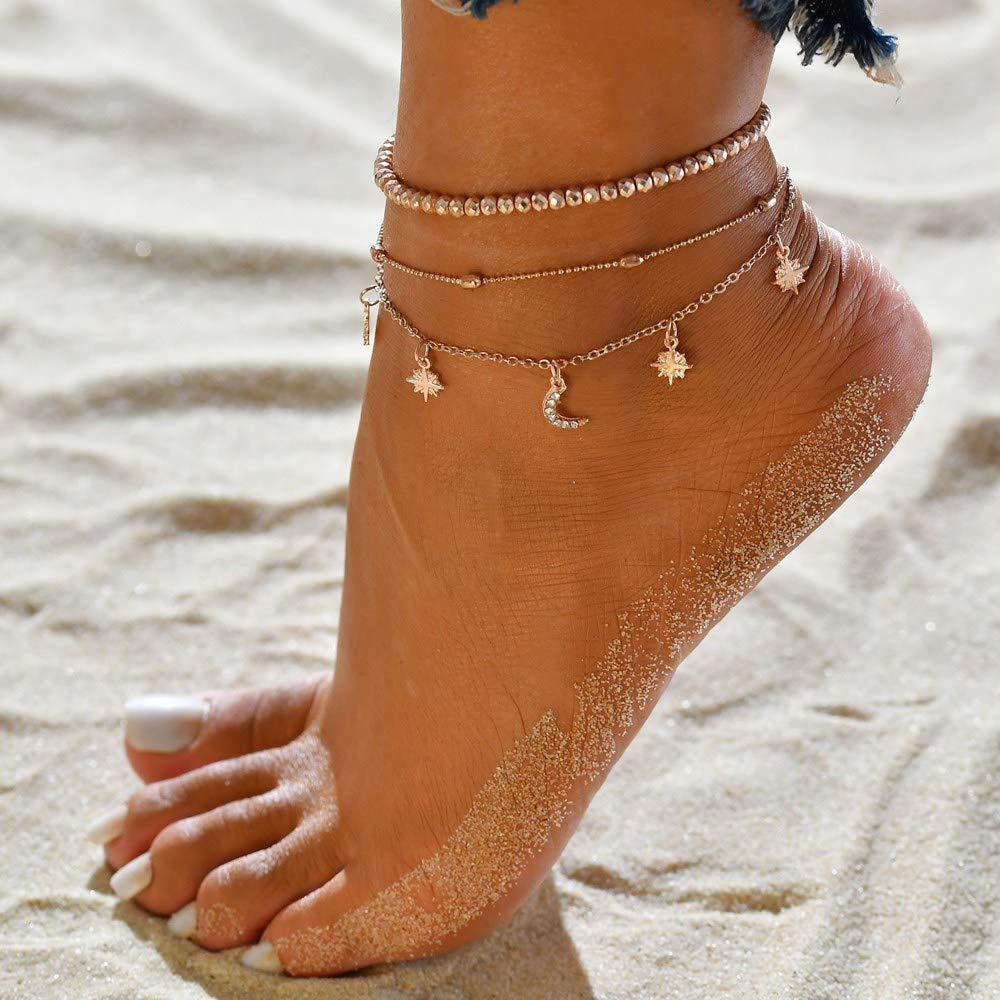 Egurs Anklet News Multi-Strato Perline Stella e Luna Piede Catena Piede Ornamento Cavigliera Bracciali
