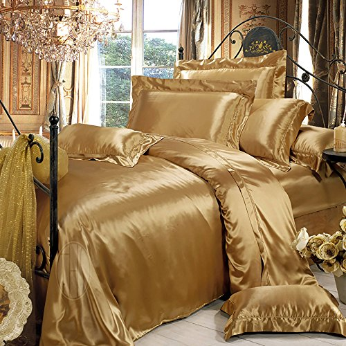 THXSILK Silk Duvet Cover, Silk Comforter Covers, Luxury Bedding - Ultra Soft, Machine Washable, hypoallergenic, Durable -100% Top Grade Mulberry Silk, Queen Size, Metallic Gold - Metallic Queen Size Bed