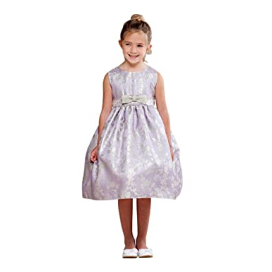 4346f5bb Crayon Kids Big Girls Lilac Glitter Rose Pattern Bow Flower Girl Dress 9/10