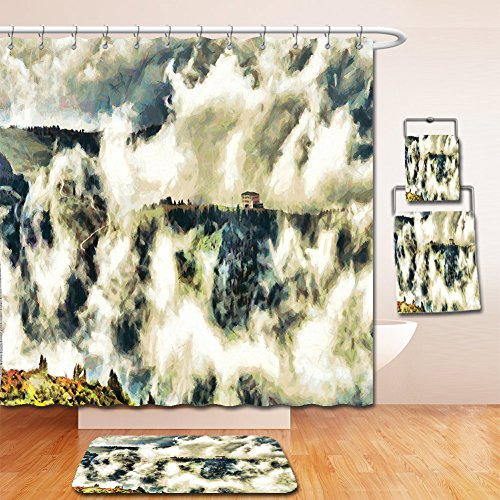 Curtain Highland Cotton Shower (Nalahome Bath Suit: Showercurtain Bathrug Bathtowel Handtowel Mystic House Decor Fairy Landscape Illustration With House Among Clouds Greenery Trees Highland Green Beige)