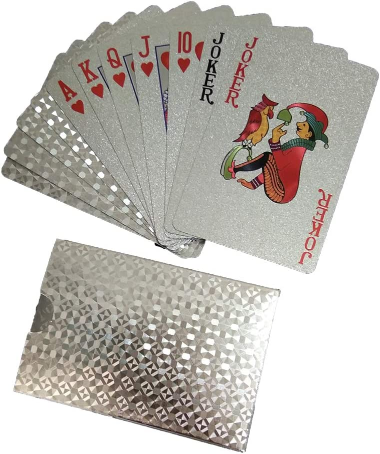 2 Deck ZAONE Gold Foil Poker Playing Cards Tabletop Game Silver A 2 Pack Time Killer Classic Magic Tricks Tool Gift for Card Lover /& Magician Waterproof Plastic PVC Poker Card Sets for Pool