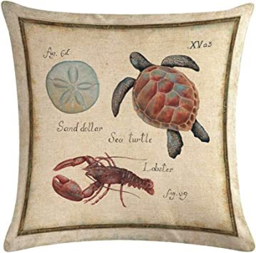 Amazon Com Ezyforu Throw Pillow Covers Labster Sea Turtle Sand Dollar Marine Retro Cotton Linen Burlap Decor Couch Pillowcases Cushion Cases 18 X 18 Home Kitchen