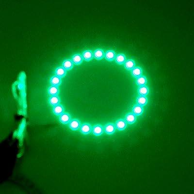 2PCS x Car Led Headlight 60mm 3528 18-SMD Angel Eyes Halo Ring Light (Green): Automotive