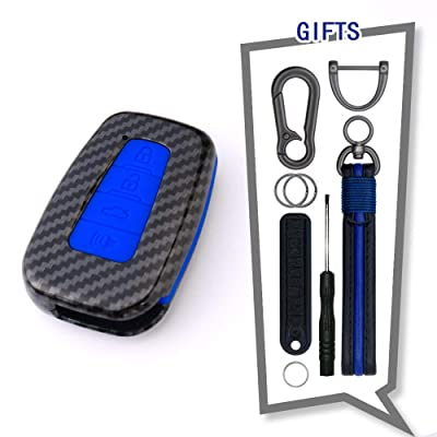 TANGSEN Smart Key Fob Case for Toyota Avalon Camry Corolla Hatchback C-HR Prius Prime RAV4 4 Button Keyless Entry Remote Personalized Protective Cover Plastic Carbon Fiber Pattern Blue Silicone: Automotive [5Bkhe0902869]