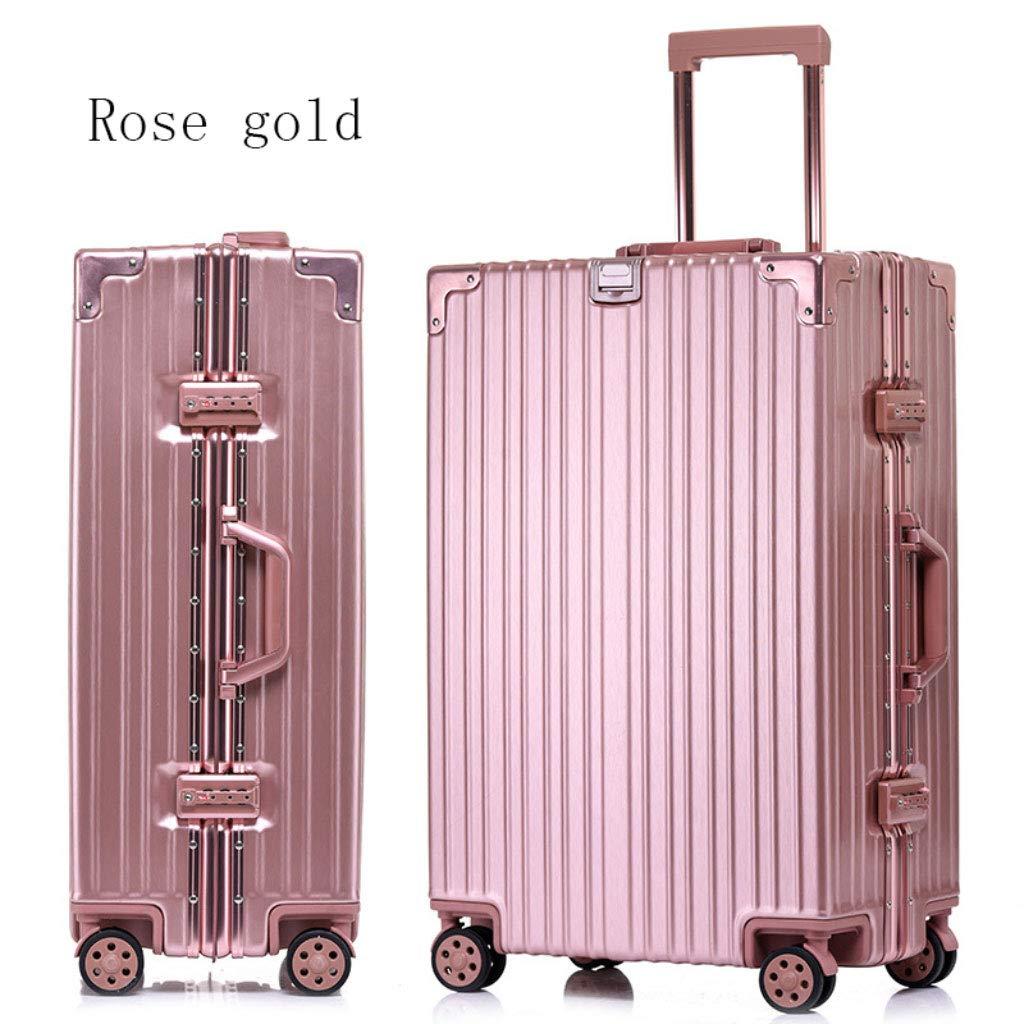 アルミフレームトローリーケースパスワードロックスーツケースユニバーサルホイール荷物のスーツケース (Color : ローズゴールド, Size : 29 inches)   B07R4QGTLG