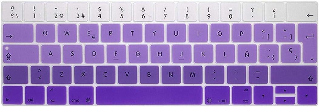 España EU-Enter teclado protector de la cubierta para MacBook Pro13 15 con barra táctil A1706/A1707/A1989/A1990 teclado protector película-degradado púrpura: Amazon.es: Electrónica