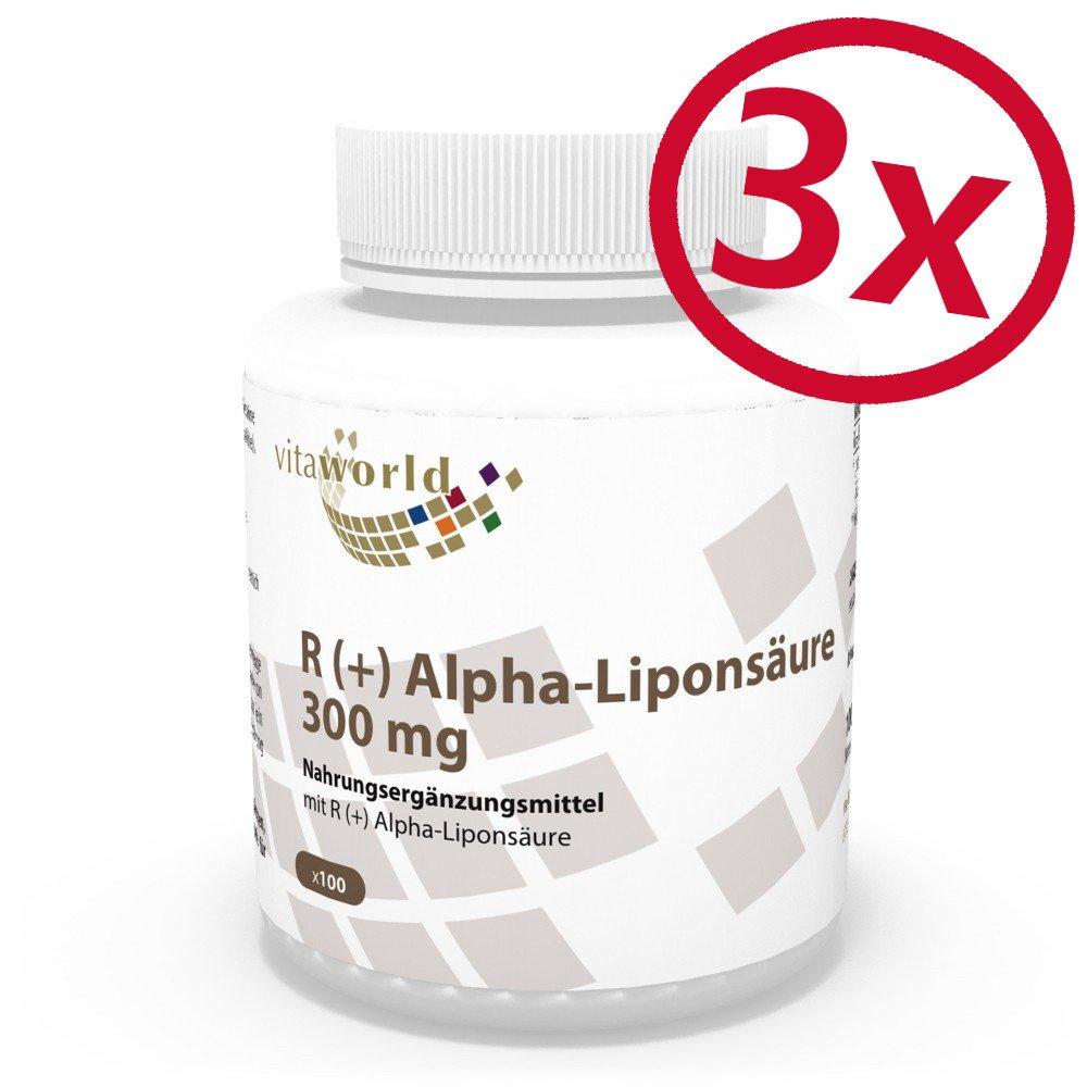 Pack de 3 R (+) Acido Alfa Lipoico 300mg 3 x 100 Cápsulas Vegetales Vita World Farmacia Alemania - Forma Activa R+ - Antioxidante: Amazon.es: Salud y ...