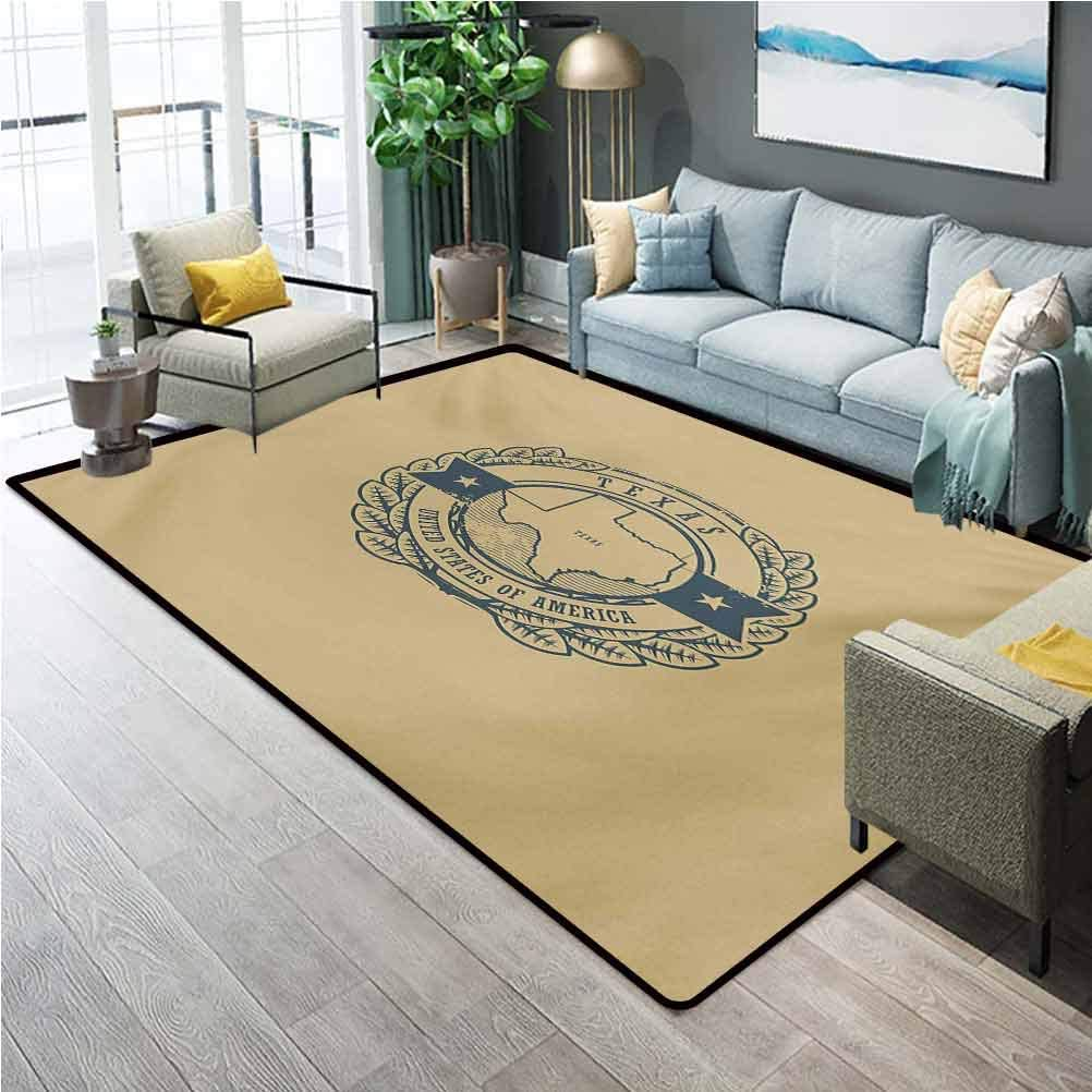 Texas Home Decor Rugs Grunge Retro Rubber Stamp with Name and Map of Texas United States of America Carpet Sliders for Exercise Carpet for Rooms Khaki Cadet Blue W6.5X L9.8 Ft
