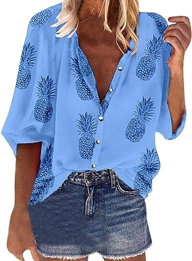 Vectry Camisa Mujer Moda Mujer Cuello Vuelto Botton Manga Larga Floral Impreso Blusa Casual Camisa Otoño Verano Playa Y Fiesta: Amazon.es: Ropa y accesorios